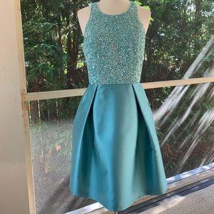 THEIA Sleeveless Seafoam Blue-Green Cocktail Dress